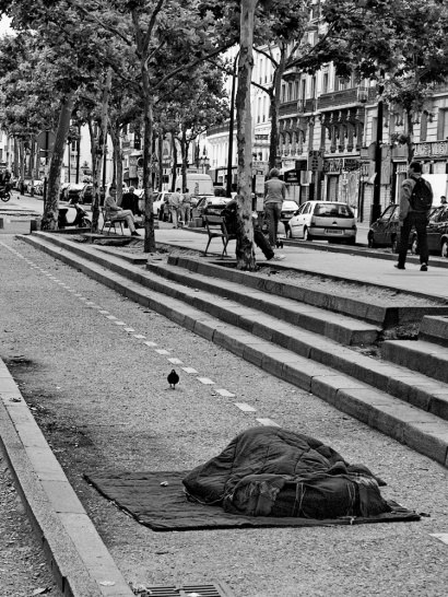 Homeless person sleeping rough in Montmartre, Paris, 2000